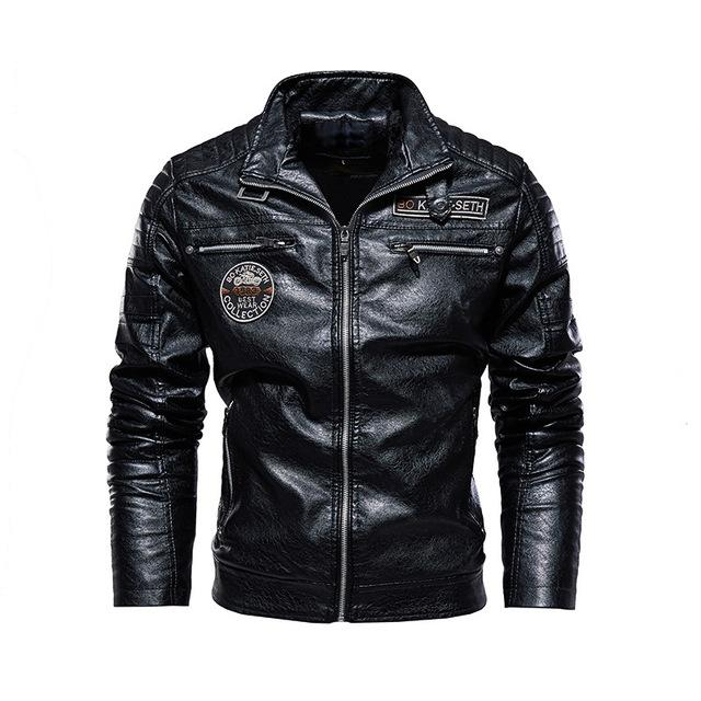 PU Leather Casual Motorcycle Windbreaker Jacket - BrapWrap