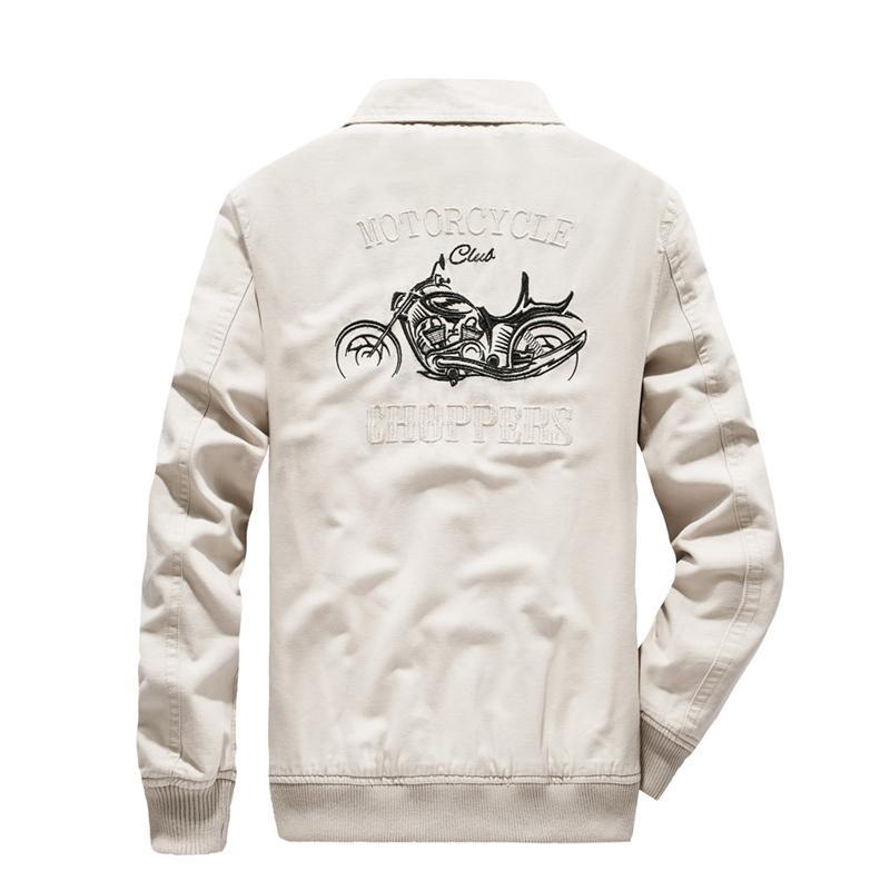 Motorcycle Embroidery Cargo Cotton Jacket - BrapWrap