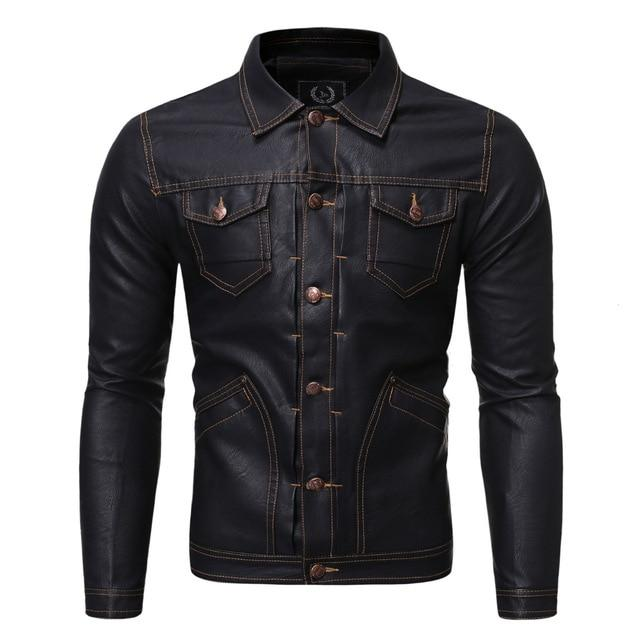 Casual Button Pockets Leather Jackets - BrapWrap