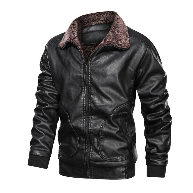 Winter Fleece Thick Leather Jacket
