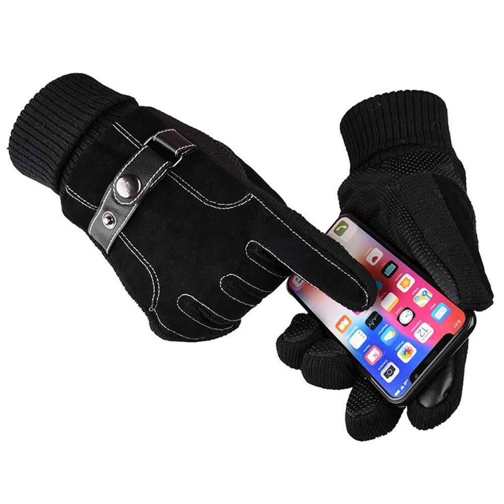 Genuine Leather Warm Thick Touch Screen Gloves - BrapWrap