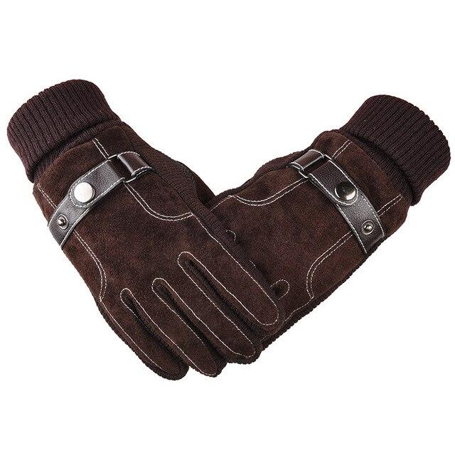 Genuine Leather Warm Thick Touch Screen Gloves