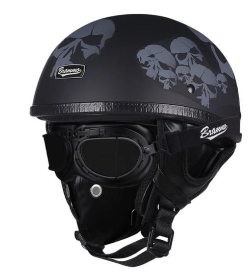 Retro Half Face Helmet with Goggles & Leather Face Mask - BrapWrap