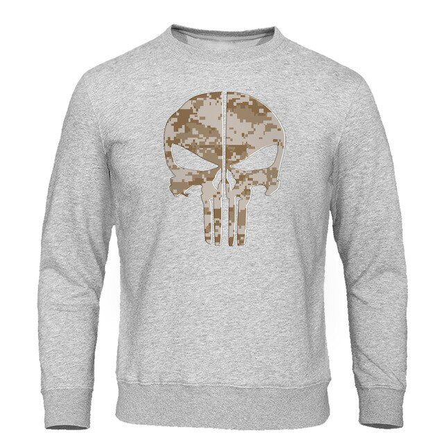 Skull Print Fleece Warm Sweatshirt