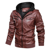 PU Leather Double Collar Hooded Zipper Jacket - BrapWrap