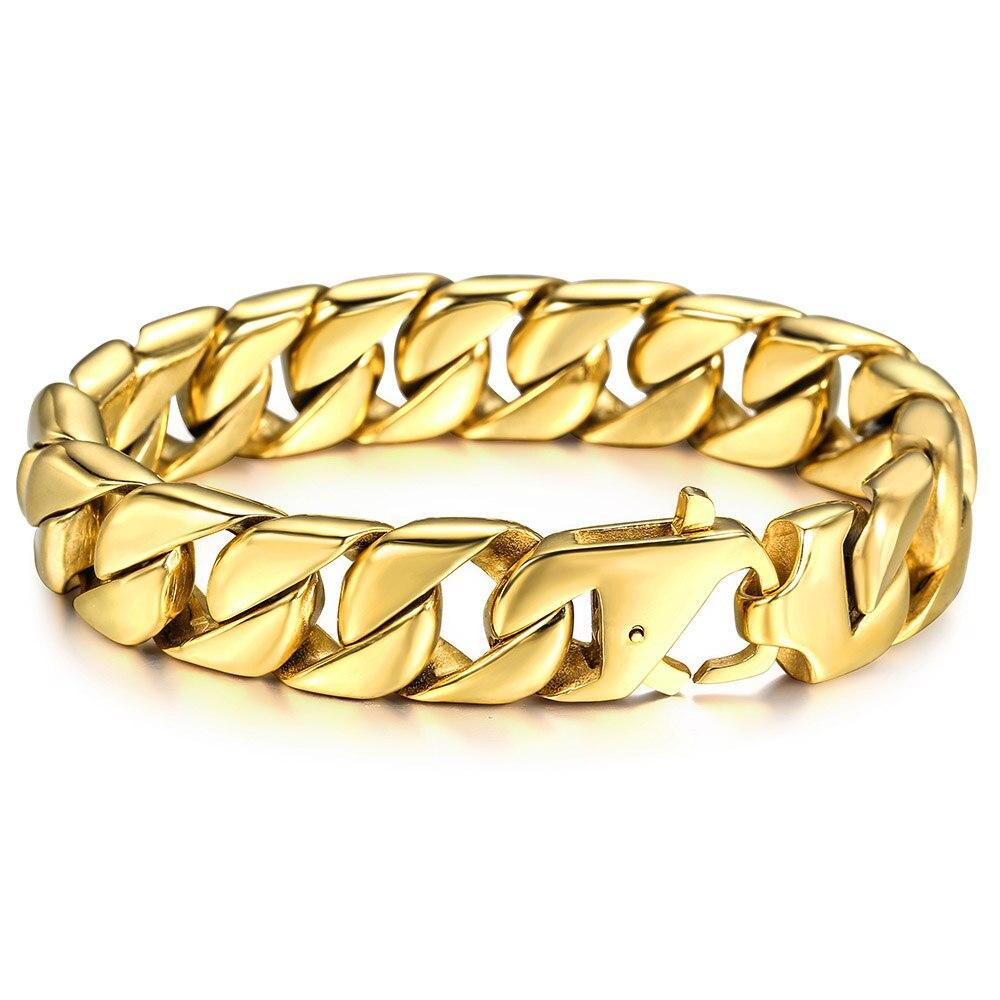 Cuban Link Chain Stainless Steel Gold Color Bracelet - BrapWrap