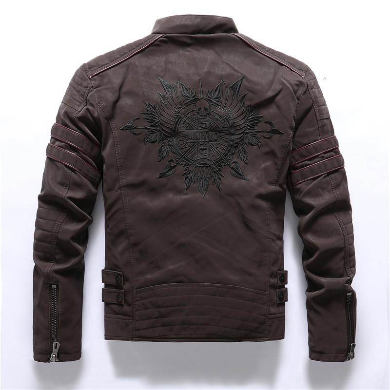 PU Leather Skull Embroidery Motorcycle Jackets - BrapWrap