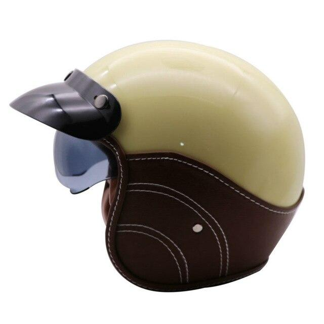 Open Face PU Leather Half Helmet - BrapWrap