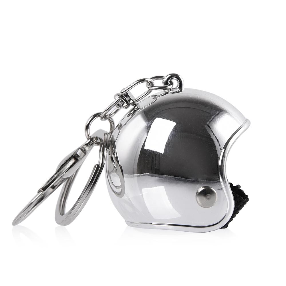 Chrome Motorcycle Helmet Keychain