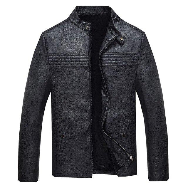 Faux Leather Stand Collar Zipper Jacket - BrapWrap