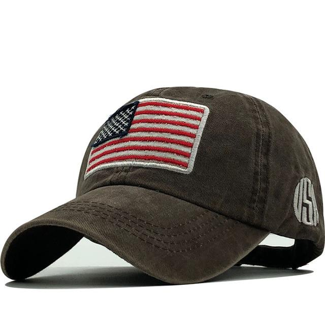New Cotton Washed Baseball Cap Flag Of USA Hat Snapback Adjustable - BrapWrap