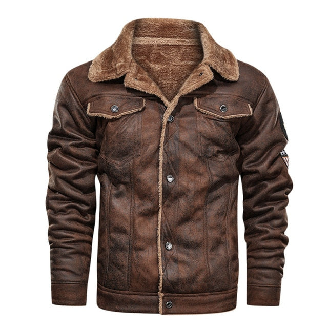 Thick Fleece Army Tactical Fur Collar Leather Jacket