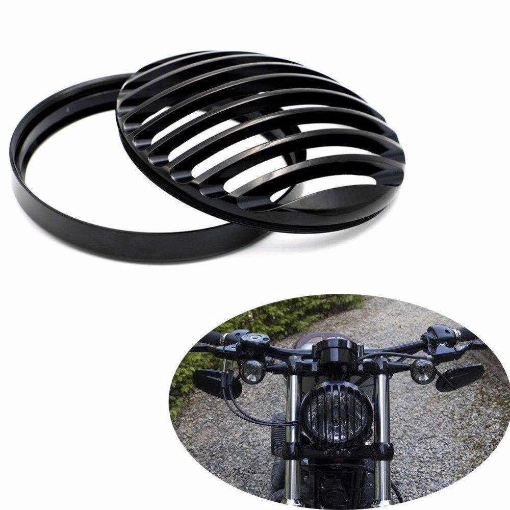 Black Slotted Headlight Grill Cover For Motorcycles - BrapWrap