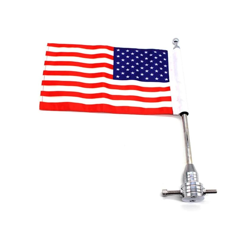 USA Chrome Motorcycle CNC Aluminum Rear Side Vertical Flag Pole