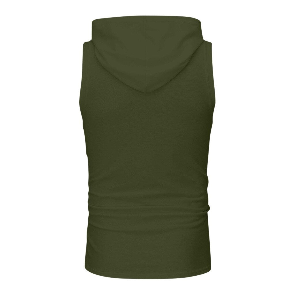 Muscle Print Sleeveless Hooded Tops - BrapWrap