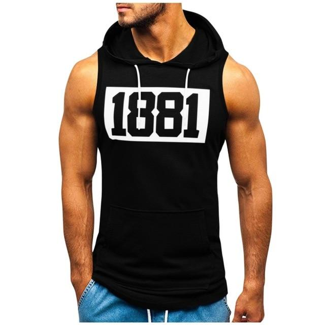 Fitness Muscle Print Sleeveless Hooded Tank Top - BrapWrap