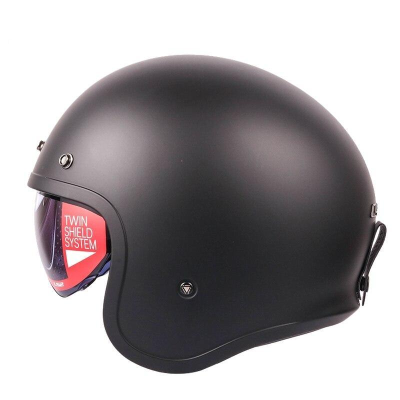 Open Face Matte Black Bubble Visor Helmet - BrapWrap