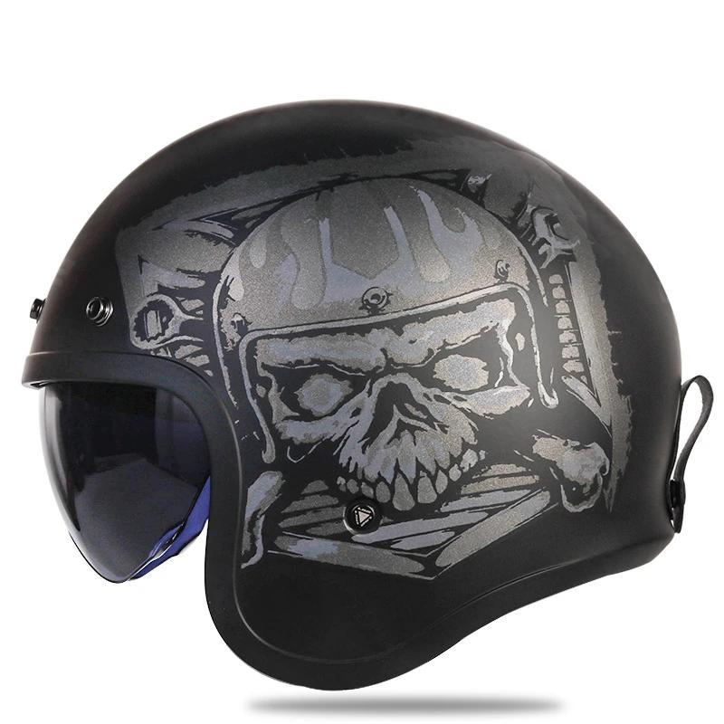 Open Face Knight Skull Print Bubble Visor Helmet - BrapWrap