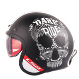 Open Face Black Dare to Ride Skull Print Bubble Visor Helmet - BrapWrap