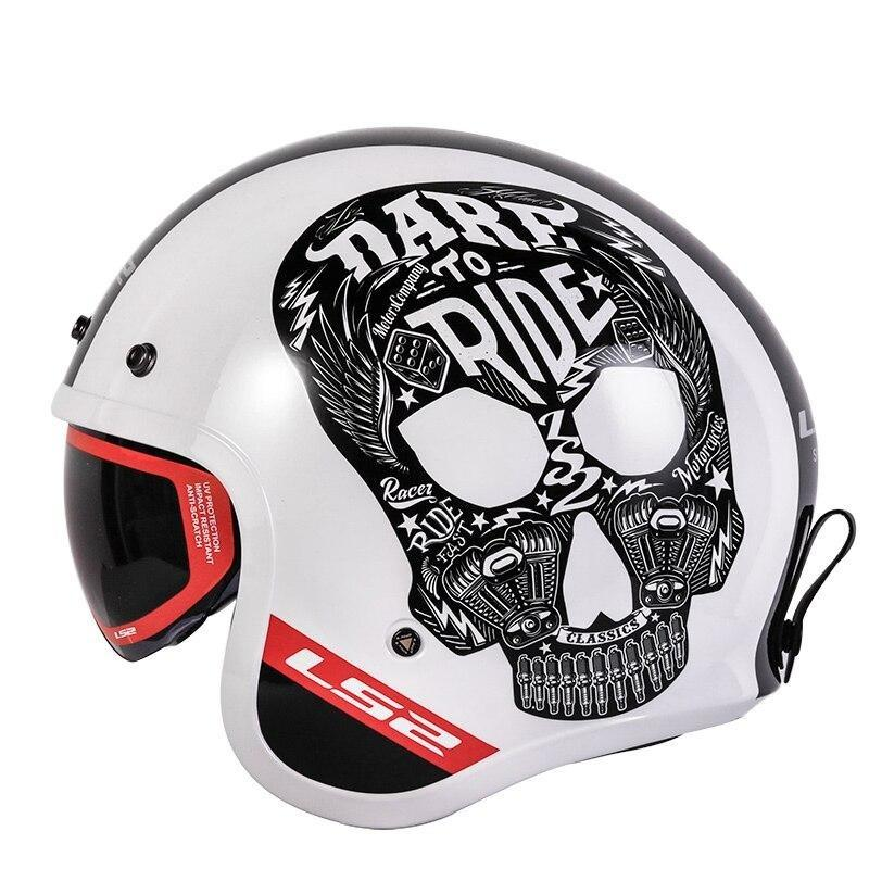 Open Face White Dare to Ride Skull Print Bubble Visor Helmet - BrapWrap