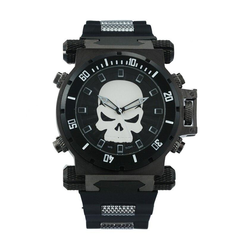 Oversize Steampunk Skull Rubber Strap Sports Bikers Watch - BrapWrap