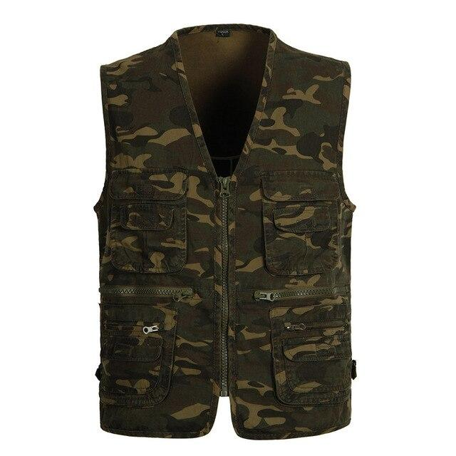 Multi Pocket Camouflage Cotton Vest - BrapWrap