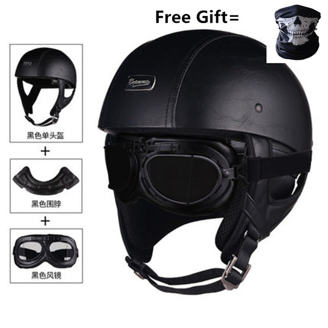 Vintage Leather Helmet With Mask & Goggles