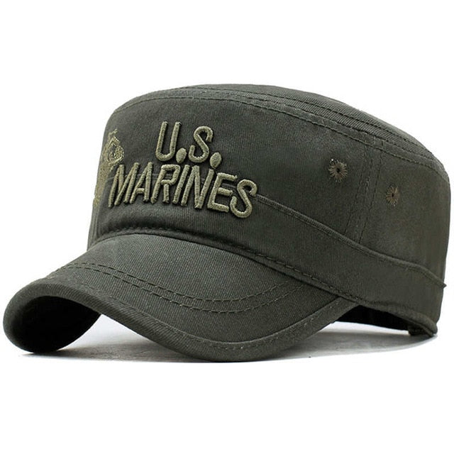 US Marines Corps Cap Hat Military Hats Camouflage Flat Top USA Navy Embroidered Camo Hat