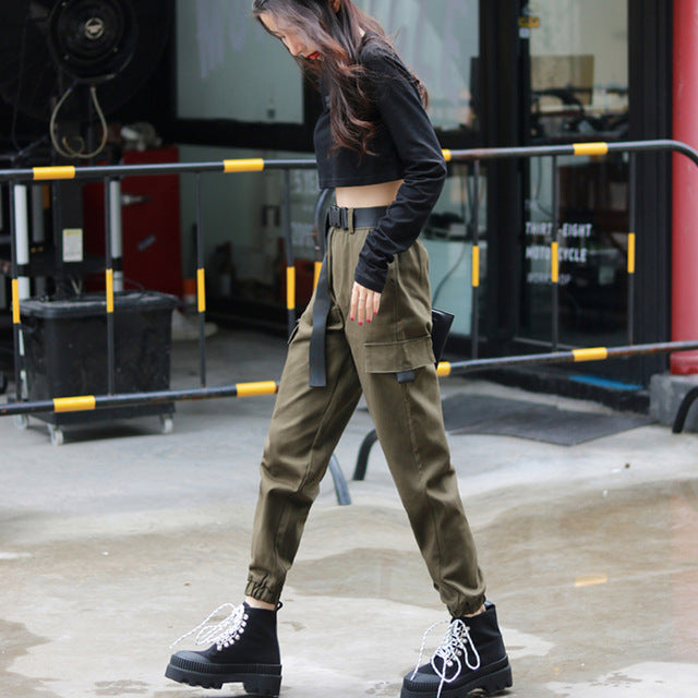 Women's Fashion Streetwear Cargo Pants Army Green Ankle Length Pants