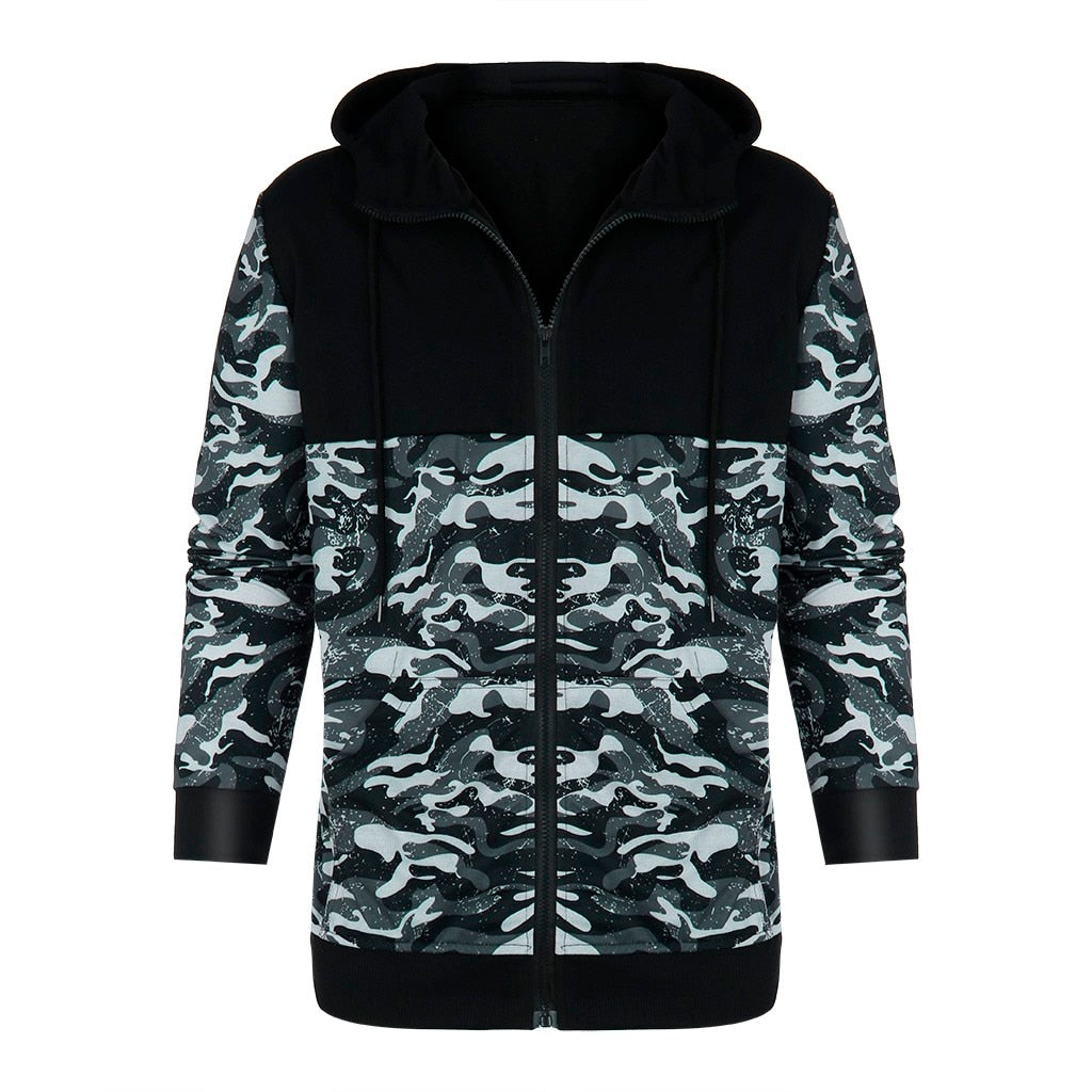 High Quality Men Camouflage Pullover Long Sleeve Hooded Sweatshirt