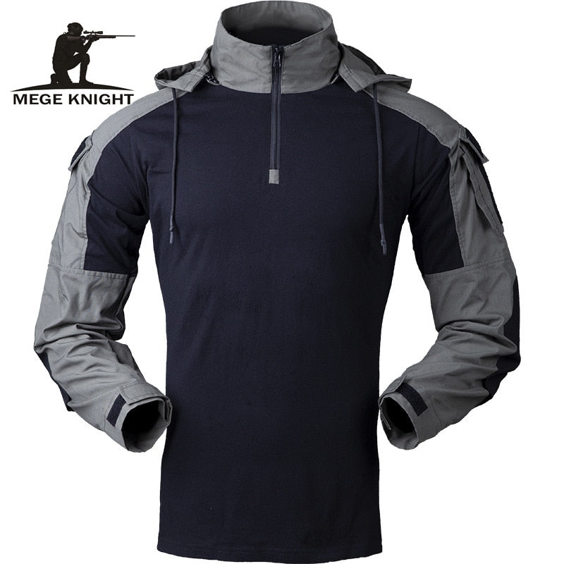 Tactical  Men's Long Sleeve Military  Hooded Arm Shirt Outwear Ripstop