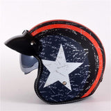 Red Line Star Open Face Helmet - BrapWrap