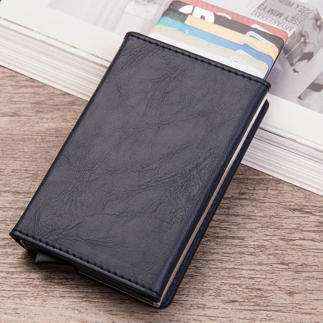 Rfid Blocking Men's Leather Metal Wallet  With Zipper