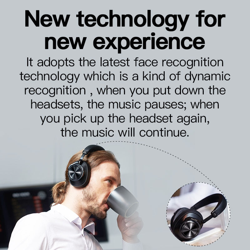 Bluedio T7 Bluetooth Headphones ANC Wireless Headset 5.0 HIFI sound with 57mm loudspeaker face recognition for phone