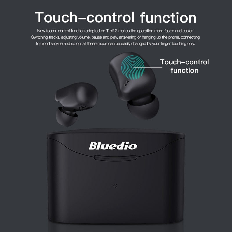 Bluedio T-elf 2 Bluetooth earphone TWS wireless earbuds waterproof Sports Headset with charging box