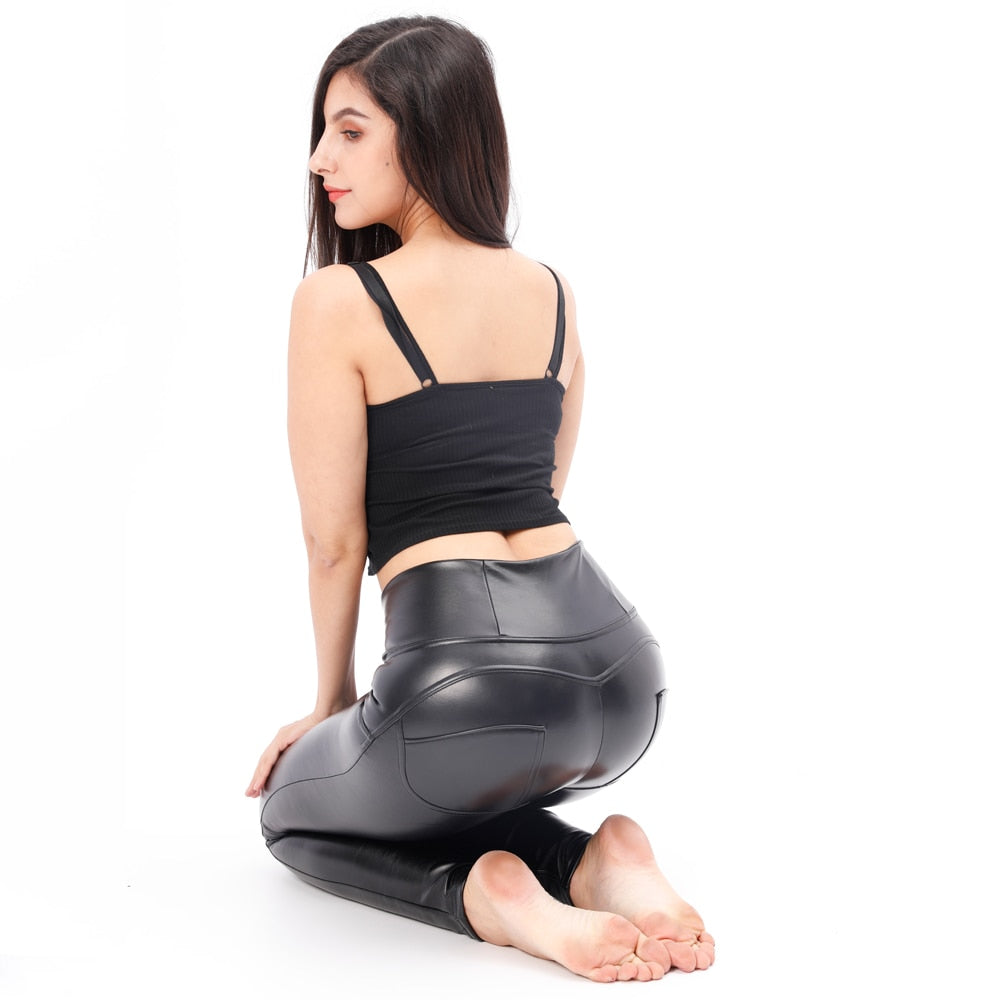 Women's Faux Leather pants, high waist