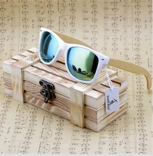 Bamboo Wood Polarized Sunglasses With Reflective Mirror + Gift Box