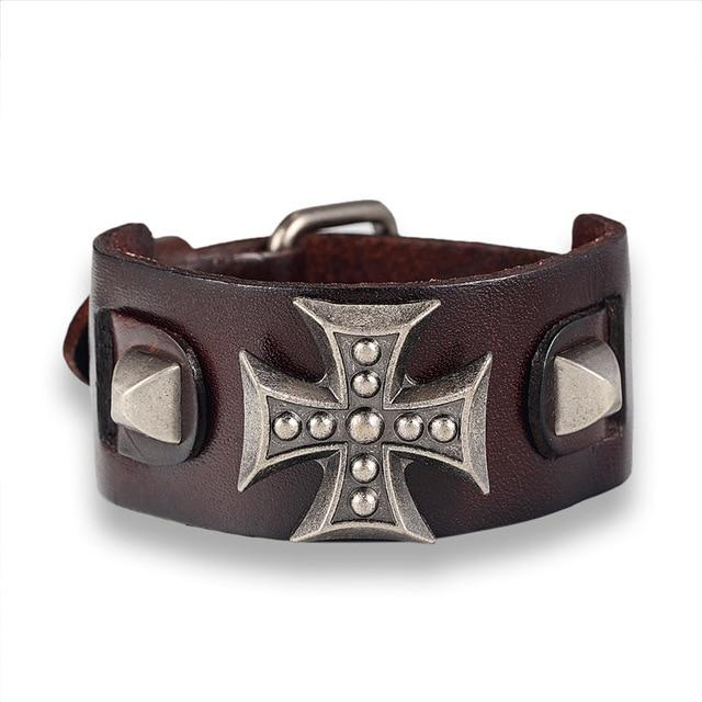 Genuine Leather Cross Retro bracelet - BrapWrap