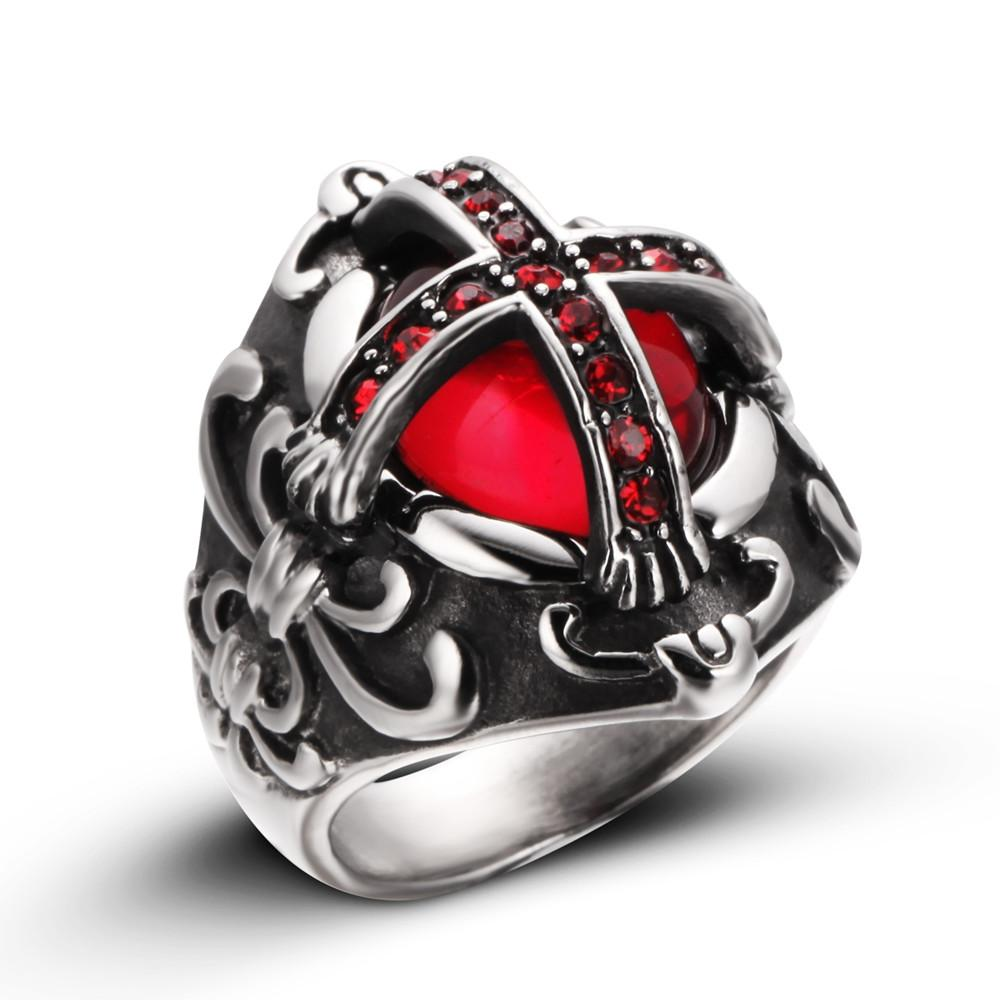 Punk Stainless Steel Knights Templar Cross Ring