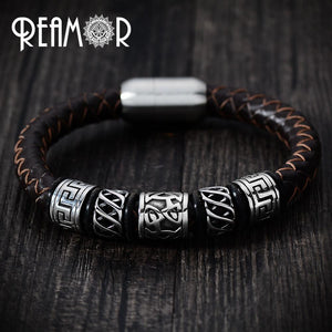 Men Black Leather Bracelet for Bikers - Limited Edition