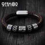 Men Black Leather Bracelet for Bikers - Limited Edition - BrapWrap