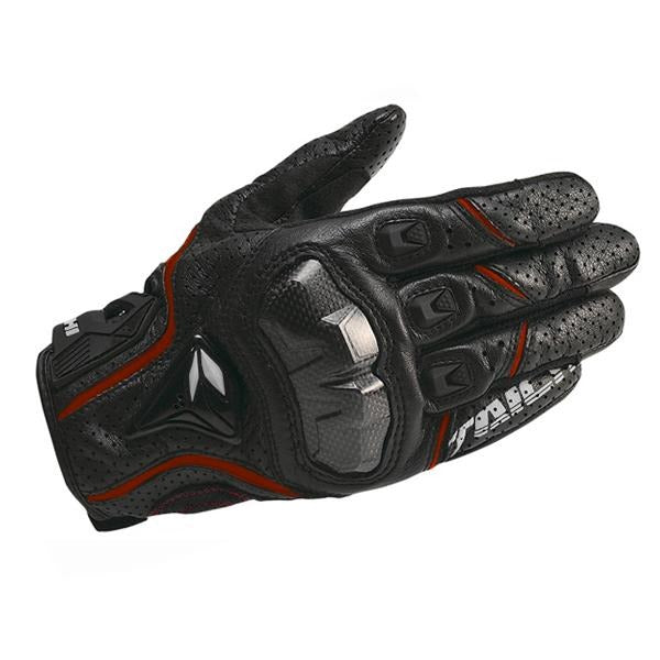 Leather perforated carbon fiber motorcycle gloves
