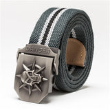 Wide Skull Metal Buckle Canvas Belt