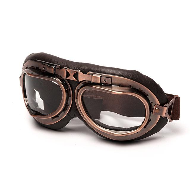 NEW UNIVERSAL VINTAGE PILOT BIKER MOTORCYCLE GOGGLES - BrapWrap