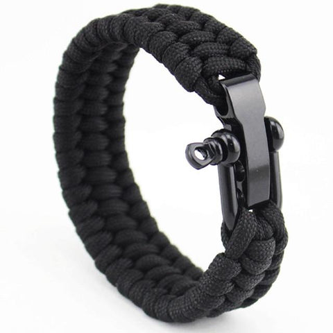 Anchor Shackles Black Leather Bracelet for Bikers - BrapWrap