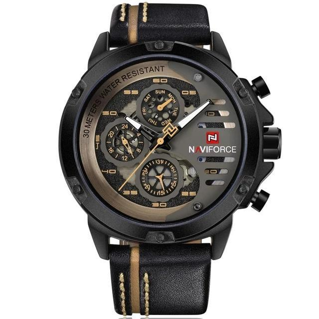 Leather Strap Chronograph Sport Watch