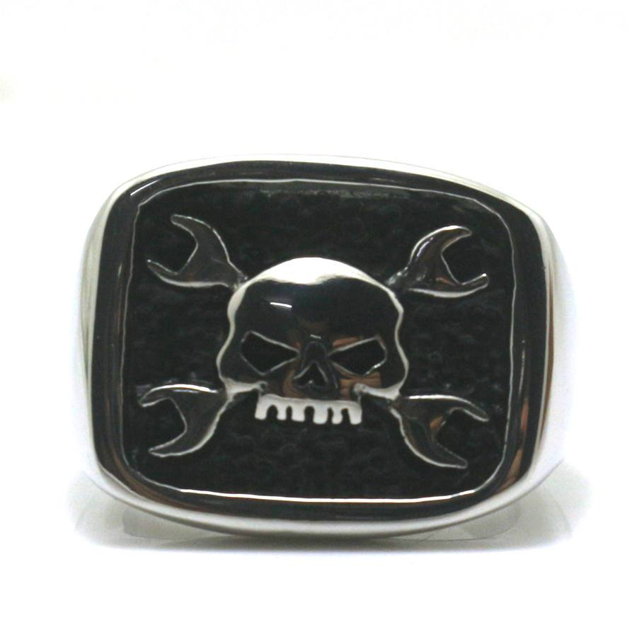 Danger Skull Ring, Crossbones and Wrenches