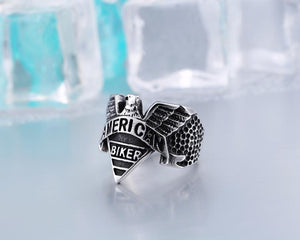 American Biker Motorcycle Freedom Eagle Ring