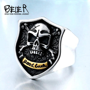 Biker Skull Vintage GOOD LUCKY Ring For Bikers