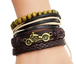 Four Layer Motorcycle Logo Leather Bracelet for Bikers